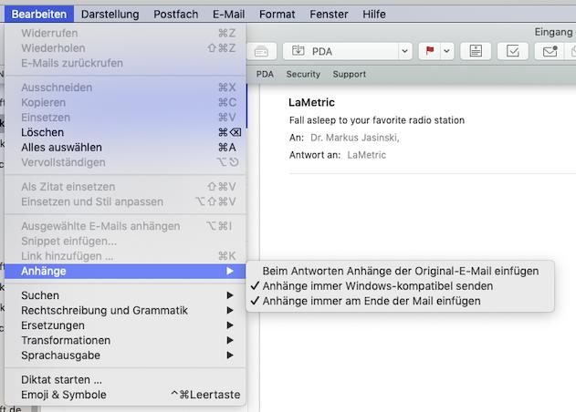 Screenshot der Option für das Platzieren von Mail-Anhängen