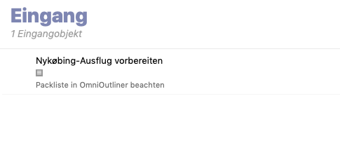 Screenshot der OmniFocus-Inbox nach Ausführung des AppleScripts