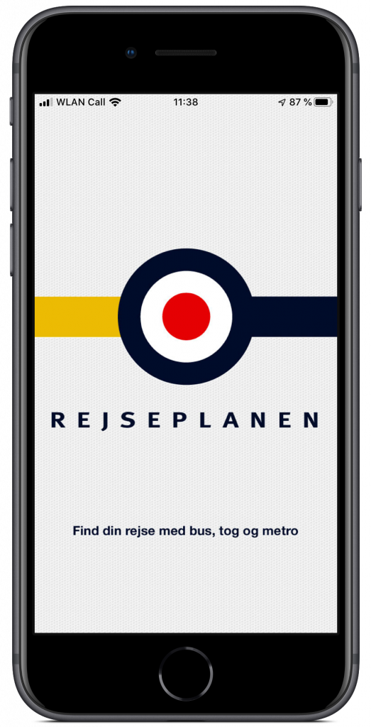 Screenshot des Splashscreens der Rejseplanen-App