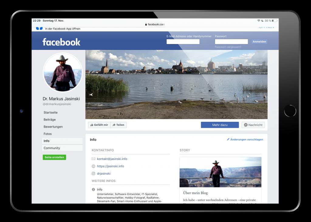 Screenshot der Facebook-Seite auf dem iPad
