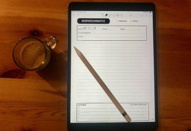 Formular für Gesprächsnotizen auf dem iPad