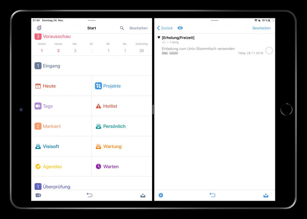 Mehrere Fenster in OmniFocus 3.4 auf dem iPad