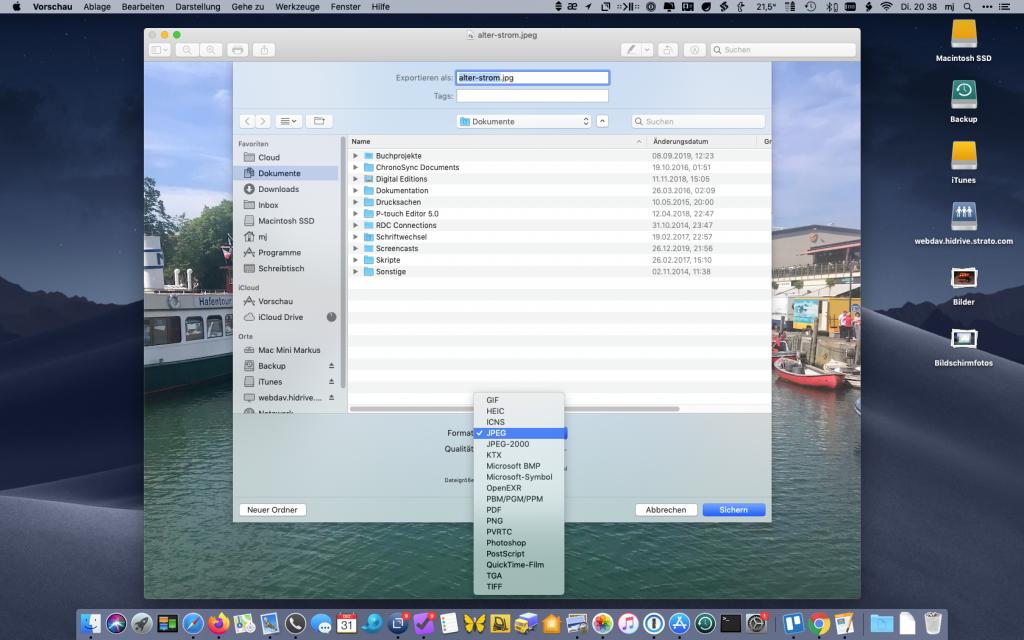 Exportformate der Vorschau-App mit Alt-Taste