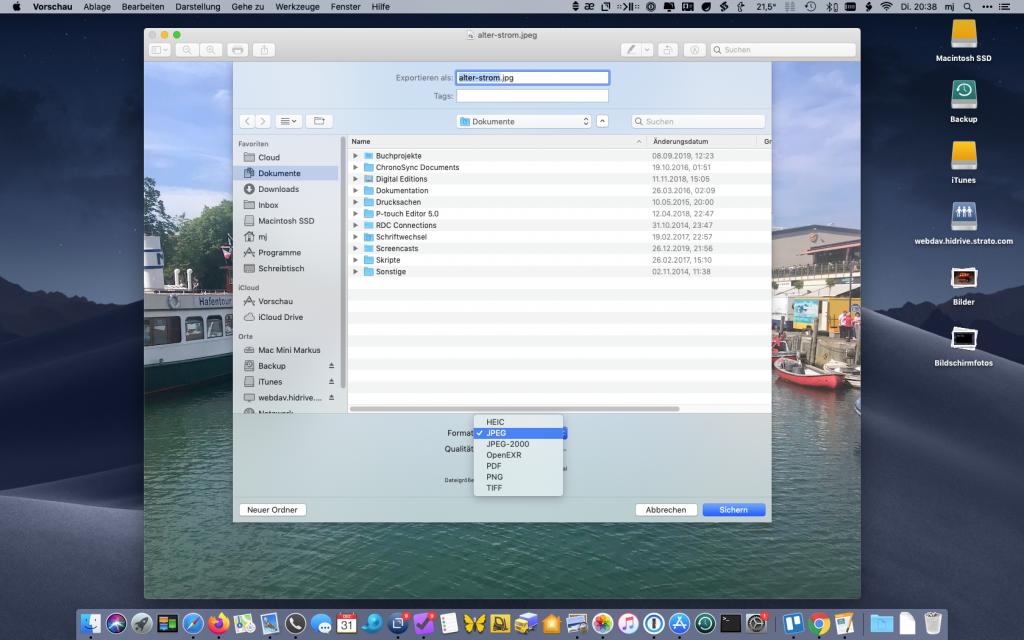 Exportformate der Vorschau-App ohne Alt-Taste
