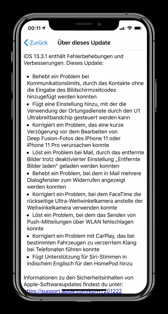 Release-Notes für iOS 13.3.1