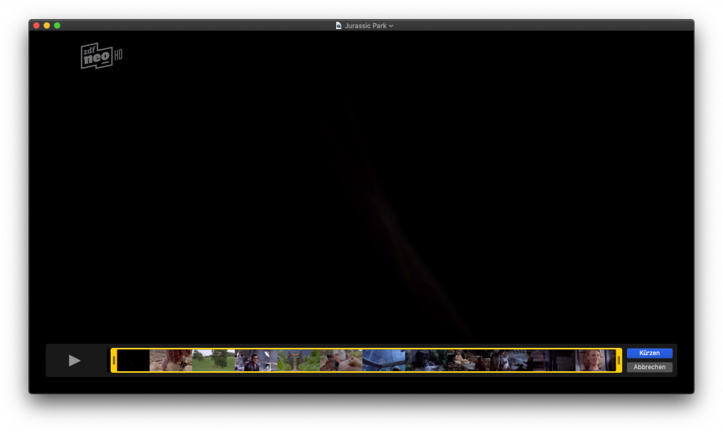 Screenshot der Schneidefunktion im Quicktime-Player