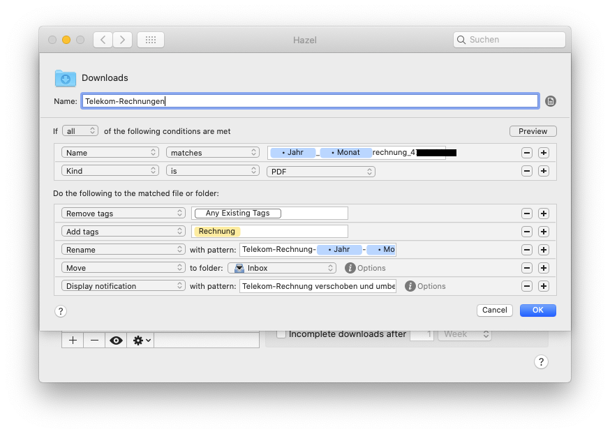 Hazel-Screenshot meiner Regel für Telefonrechnungen