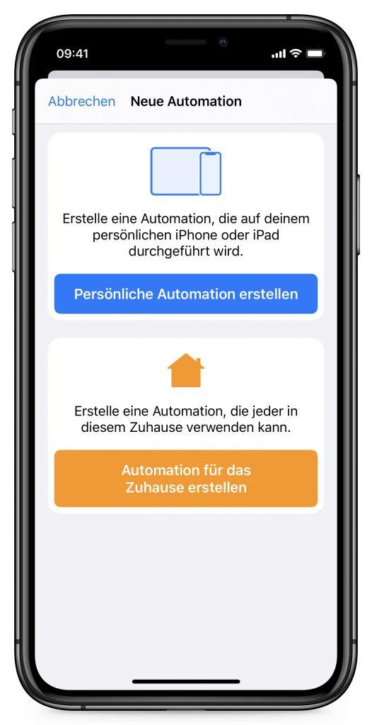 Screenshot neue Automation