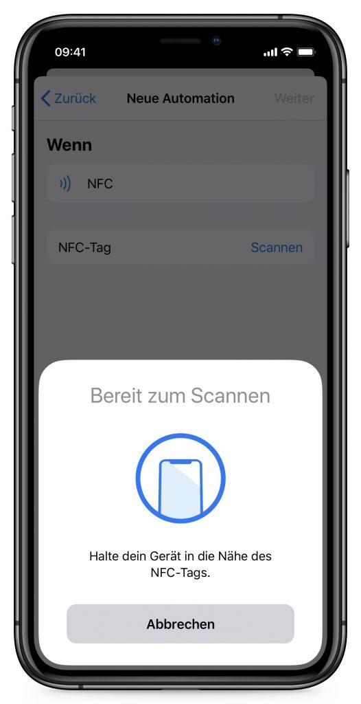 Screenshot NFC-Tag scannen