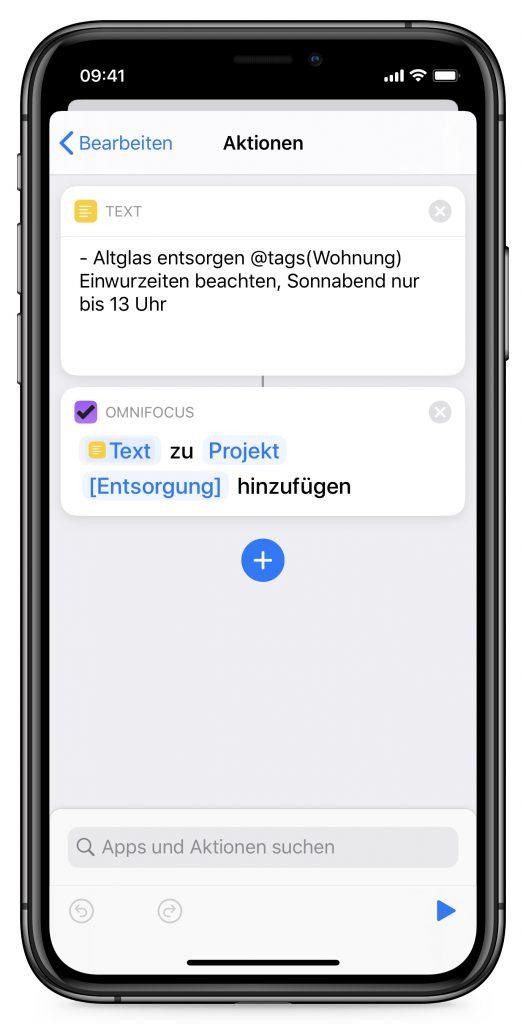 Screenshot Aktionen-Editor