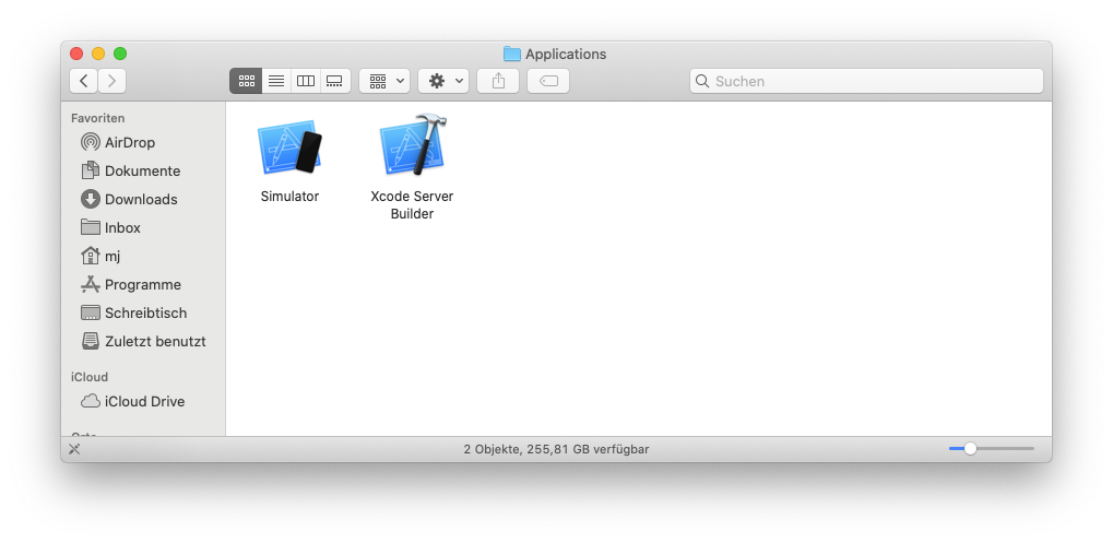 Screenshot Simulator-App im Finder