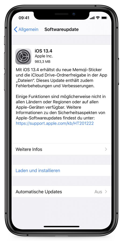 Screenshot der Update-Hinweise zu iOS 13.4