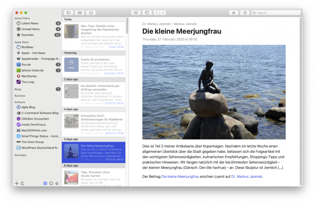 News Explorer für macOS (Screenshot)