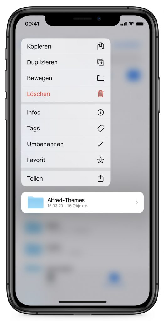 Screenshot der Ordnerfreigabe in iOS 13.4
