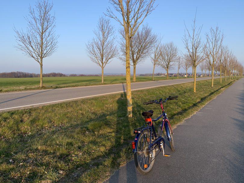 Fahrrad am Rande der Rostocker Südstadt