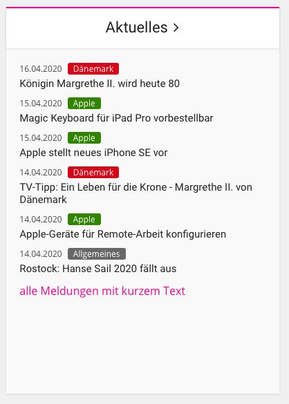 Screenshot meines Widgets Aktuelles