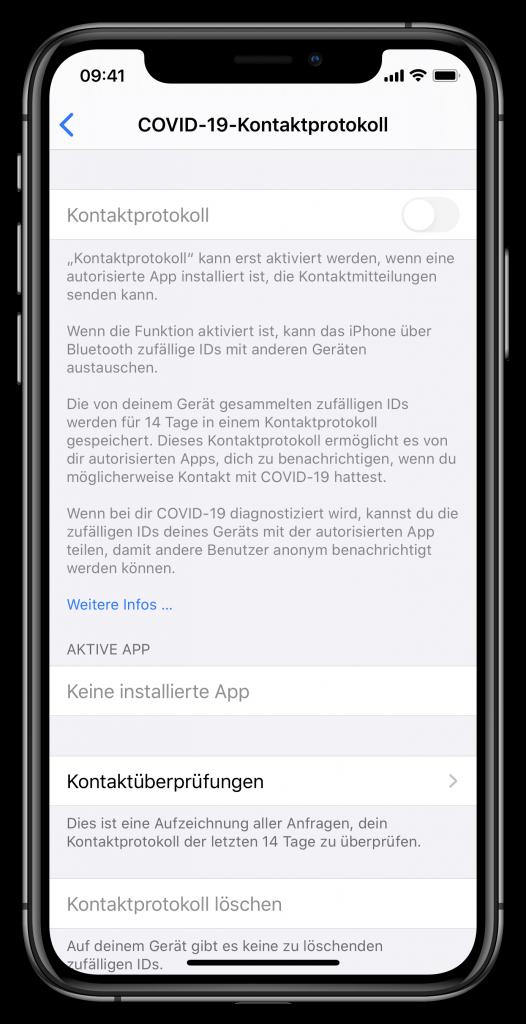 Einstellungen zum COVID-19-Kontaktprotokoll unter iOS 13.5 (Screenhot)