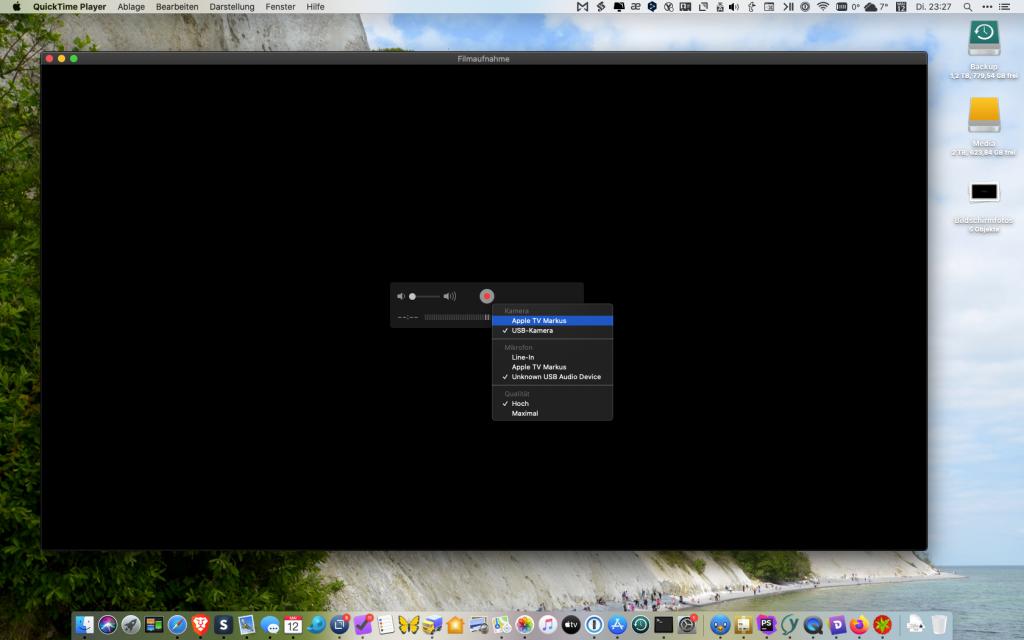 Screenshot des Menüs zur Kamera-Auswahl im QuickTime-Player
