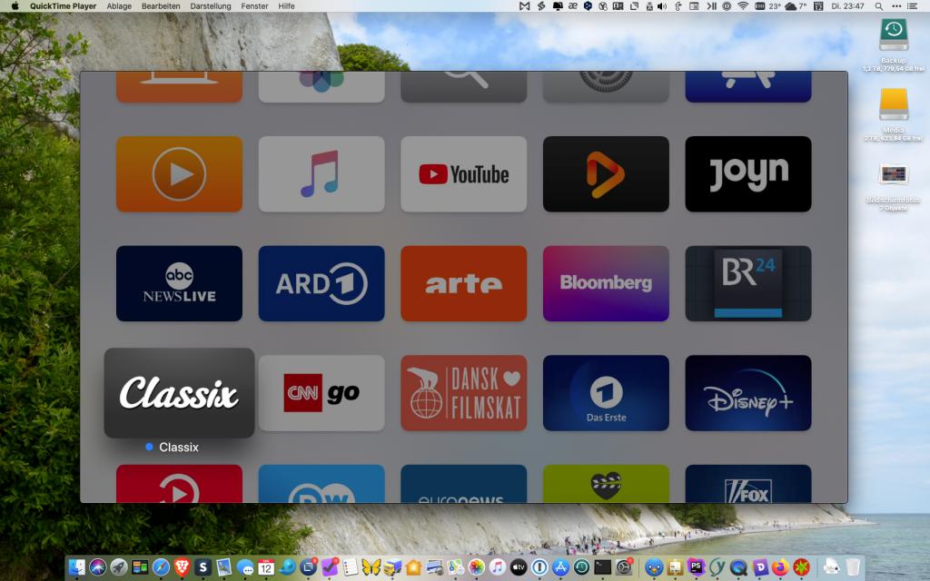 Live-Bild des Apple TV auf unserem Mac