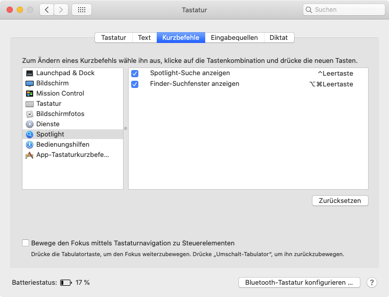 Spotlight-Tastenkombinationen in den Systemeinstellungen (Screenshot)