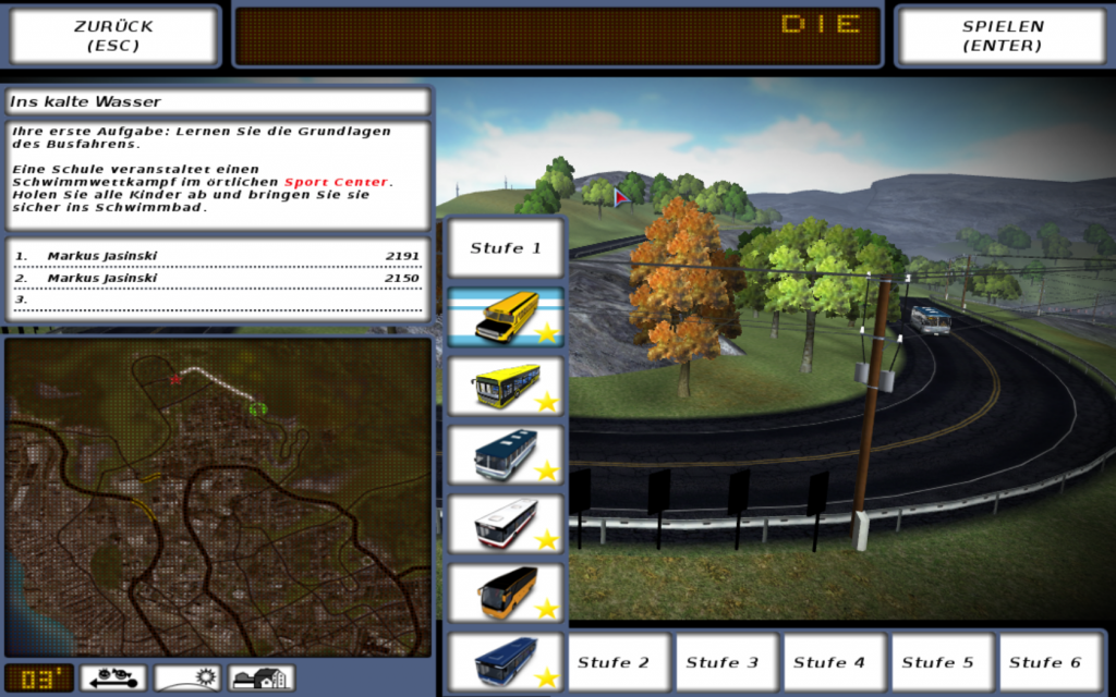 Level-Auswahl beim Spiel Bus Driver (Screenshot)