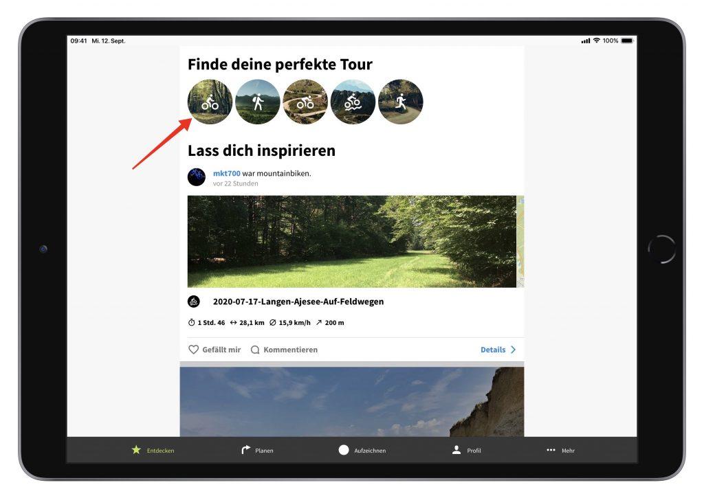 Touren finden in Komoot (Screenshot)