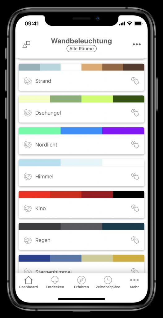 Szenenauswahl in der Nanoleaf-App (Screenshot)
