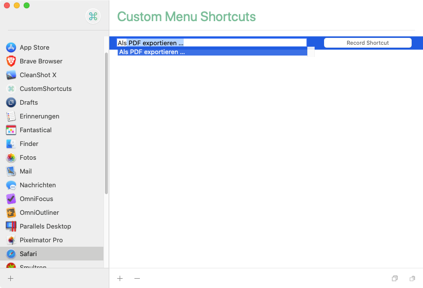 CustomShortcuts bei der Arbeit (Screenshot)