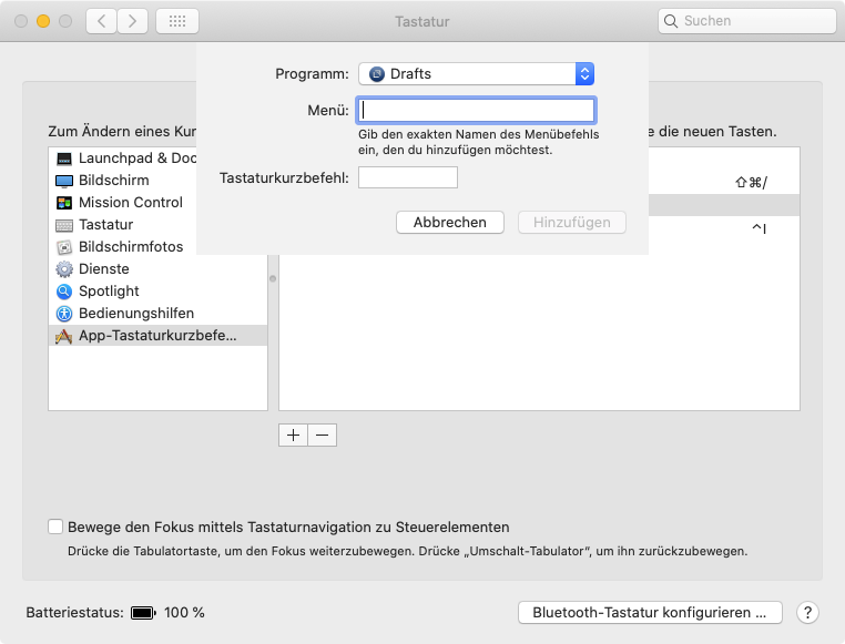 App-Kurzbefehle in den Systemeinstellungen (Screenshot)