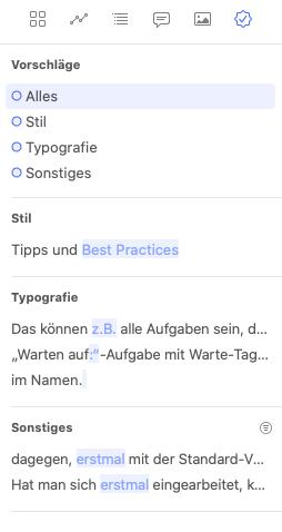 Überarbeitungshinweise in der rechten Ulysses-Sidebar (Screenshot)