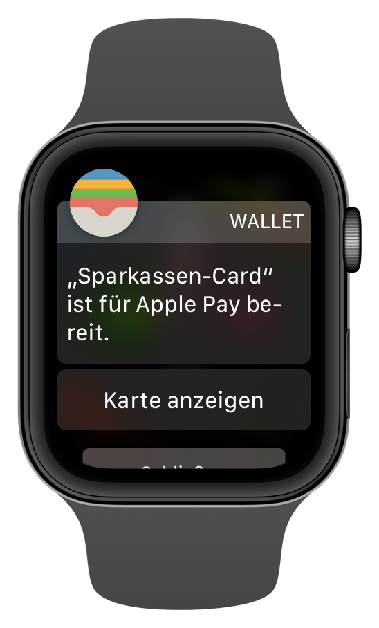 Girocard der Sparkasse auf der Apple Watch (Screenshot)