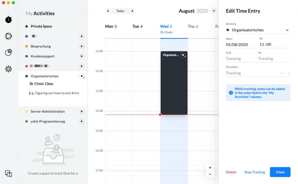 Timeular-Software (Screenshot)