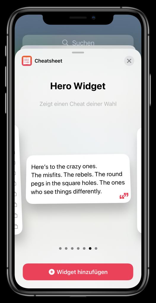 Widget-Auswahl (Screenshot)
