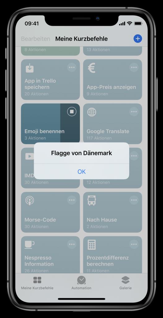 Ausgabe des Emoji-Kurzbefehl (Screenshot)