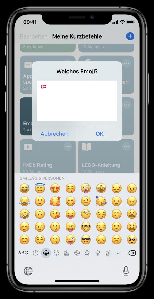 Eingabe für Emoji-Kurzbefehl (Screenshot)
