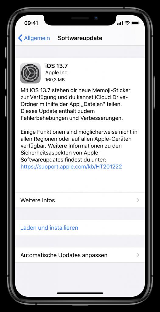 Update-Bildschirm zu iOS 13.7 (Screenshot)