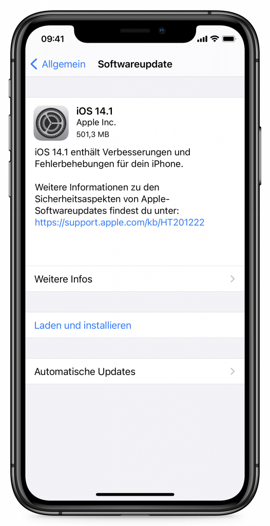 Update-Hinweis unter iOS 14 auf dem iPhone (Screenshot)