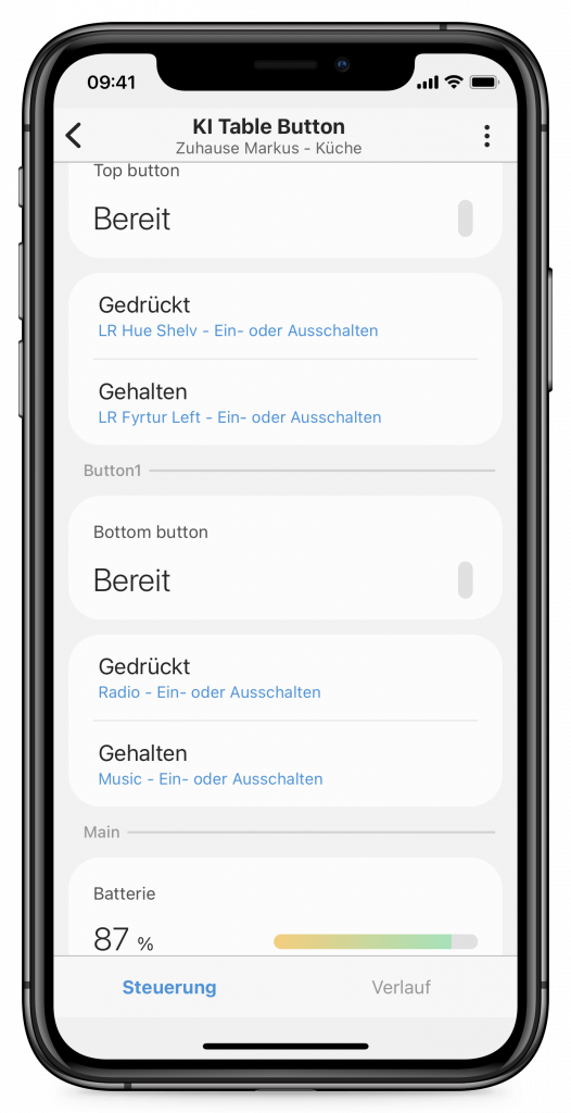 IKEA-Schalter in SmartThings konfigurieren (Screenshot)