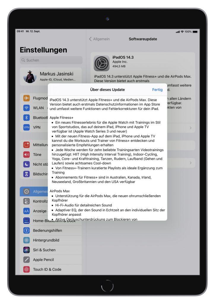 Update-Bildschirm beim iPad (Screenshot)