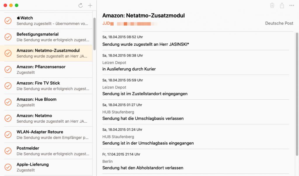 Parcel-App für Mac (Screenshot)