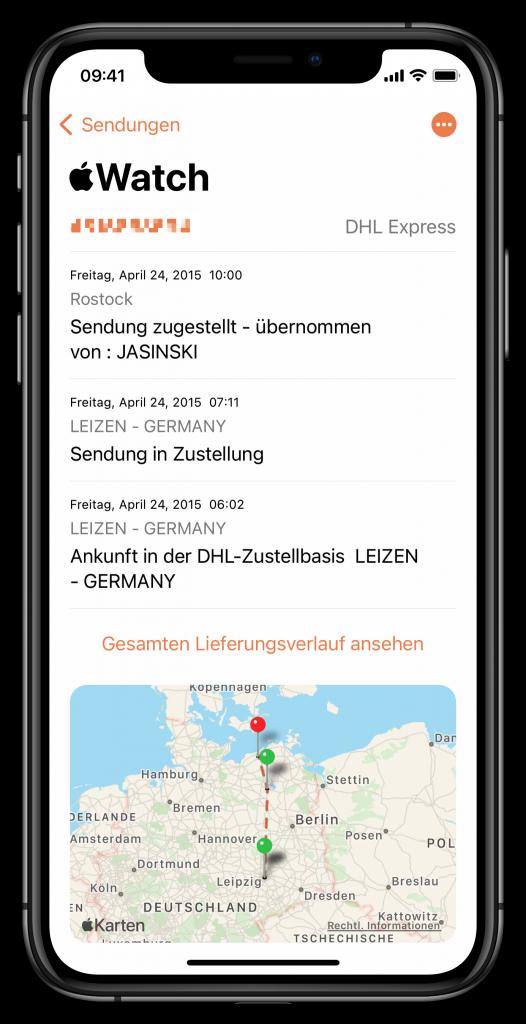 Parcel-App für iOS (Screenshot)