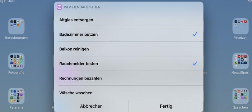 Kurzbefehl für Wochenendaufgaben (Screenshot)