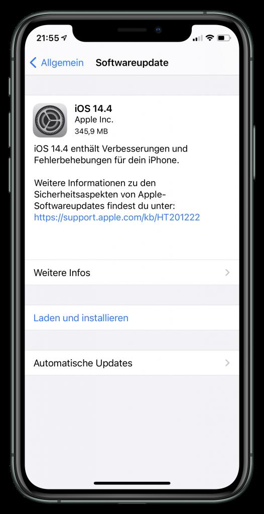 Update-Hinweise für iOS 14.4 (Screenshot)