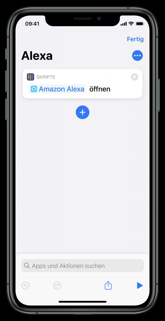 Kurzbefehl zum Starten der Alexa-App (Screenshot)