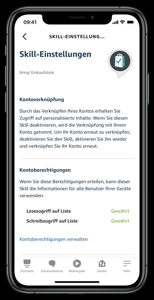 Bring-Skill in der Alexa-App (Screenshot)