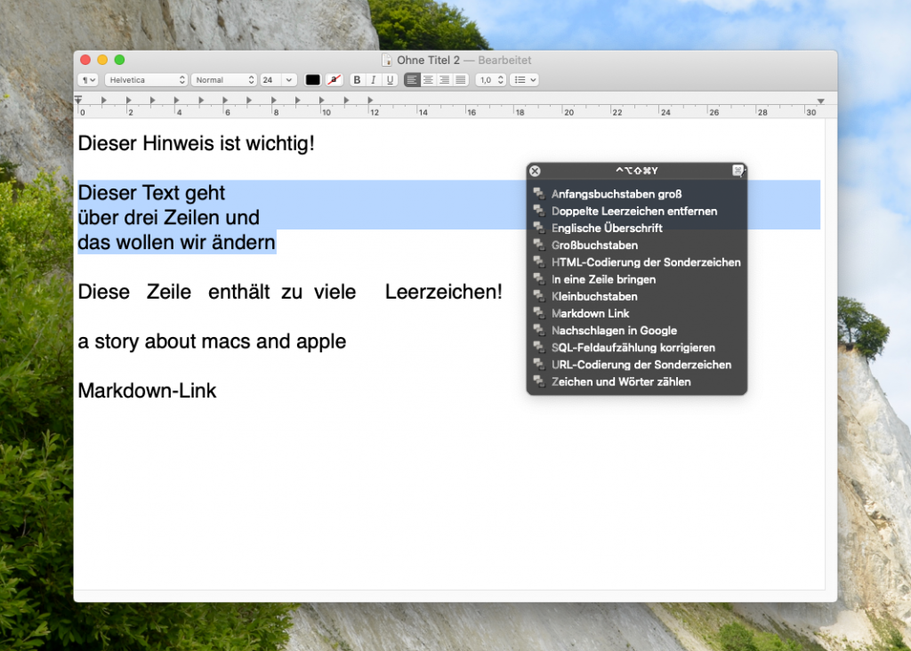 Text Tools mit Keyboard Maestro (Screenshot)