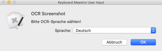 Sprachauswahl-Dialog (Screenshot)