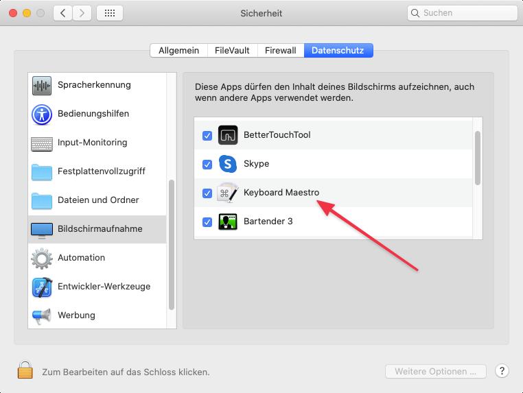 Sicherheitseinstellung für Bildschirmaufnahmen (Screenshot)