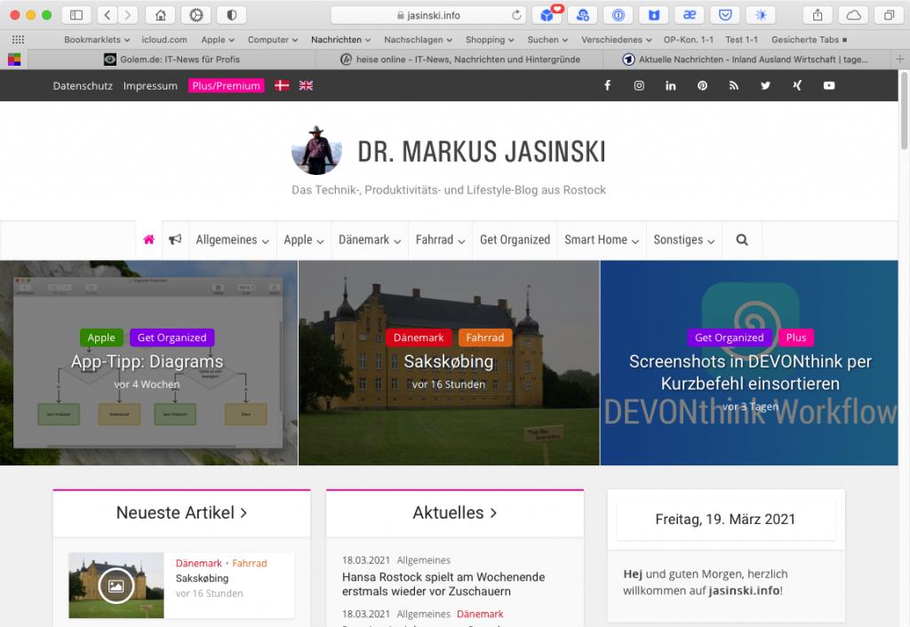 Webbrowser Safari mit vier geöffneten Tabs (Screenshot)