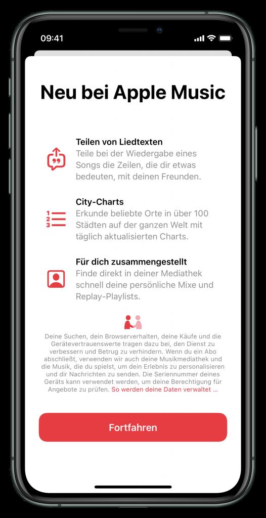 Neuerungen in der Musik-App (Screenshot)
